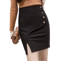 黑色高腰半身裙包臀短裙排扣弹力大码显瘦职业ol开叉一步西装裙春 黑色