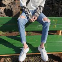 2018夏季百搭水洗破洞小脚裤潮男牛仔男裤子原宿风INS超火的裤子