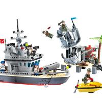 儿童智力积木小颗粒拼装男孩玩具军事海岛炮营战舰船模型3-6-12岁