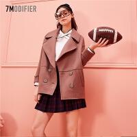 毛呢外套女2018秋冬新款短款韩版双排扣学生宽松翻领大衣外套女装