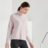 羊绒毛衣女士拉夏贝尔2018冬季新款秋韩版宽松高领上衣套头针织衫