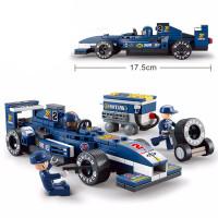 快乐兼容高积木F1赛车系列赛道维修站运输车拼装积木玩具儿童节礼物
