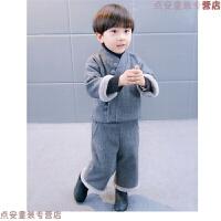 儿童唐装套装秋冬季中国风毛呢女宝宝新年装男童汉服两件套1-3岁5