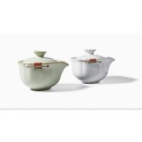 茶具汝窑陶瓷开片缠绳仿宋大号盖碗茶杯手抓壶小茶壶可养
