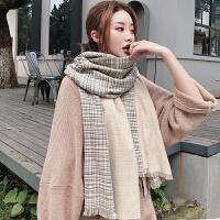 细腻柔软仿羊绒双色双面围巾女加厚百搭围脖秋冬季格子披肩
