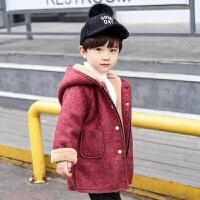 冬季儿童毛呢外套宝宝冬装新款韩版加厚加绒呢子外衣男童连帽保暖上衣秋冬新款