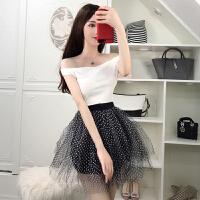 日韩甜美风时尚超仙 新款糖果色一字领上衣+波点网纱蓬蓬裙 套装