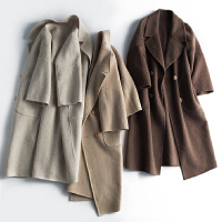 阿尔巴卡双面呢大衣 时髦七分袖厚实毛呢外套女N1/4/21