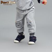 【秒杀价:89】Pawinpaw卡通小熊童装新款秋男女宝宝小熊贴布休闲裤可爱
