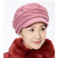 中老年女士保暖帽子老人帽子秋冬褶皱贝雷帽兔毛