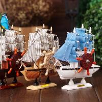 帆船音乐盒地中海风格发条式音乐盒时尚木质工艺品八音盒摆件