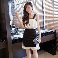 套装女夏2018新款韩版时尚性感短款吊带露肚脐露腰高腰短裙两件套