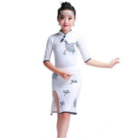 儿童古典旗袍拉丁舞服女童中国风白色练舞裙少儿比赛考级服