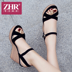 ZHR2018夏季新款坡跟凉鞋百搭韩版鞋子松糕厚底高跟鞋一字扣女鞋F73