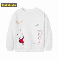 巴拉巴拉童装女童长袖T恤小童宝宝儿童秋冬2017新款加绒套头衫厚