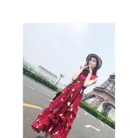 夏天立领收腰高腰松紧腰雪纺印花长裙女潮雪纺裙连衣裙长款红色裙子碎花裙矮个子女生显高显瘦