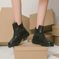 青婉田2018新款机车chic马丁靴女夏季靴子英伦风小跟短靴春秋女靴