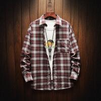 新款格子衬衫宽松潮牌学生男长袖休闲衬衣青少年男装外套寸衫