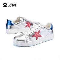 jm快乐玛丽秋季新款平底系带学生板鞋韩版星星男休闲鞋