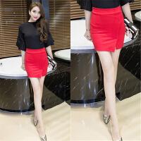 包臀短裙开叉半身裙韩版高腰弹力大码黑色OL气质大码工装职业裙女