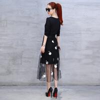 韩版2018新款女春装中长款裙子长袖打底连衣裙网纱长款蝴蝶结过膝