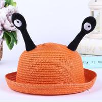 惊爆儿童帽表演宝宝幼儿园蜗牛触角礼帽圆顶可爱男女童遮阳帽帽子 桔色 触角草帽
