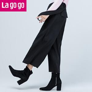 Lagogo秋季新款休闲背带裤女阔腿裤秋韩版宽松哈伦裤显瘦九分裤