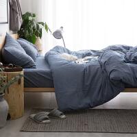 简约北欧风水洗棉色裸睡四件套棉床单三件套全棉被套床上用品