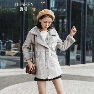 海贝2017冬装新款女装 鹿绒皮羊羔毛加绒加厚保暖中长款大衣外套