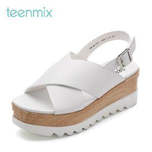 Teenmix/天美意2017夏牛皮交叉条带厚底女凉鞋6L701BL7