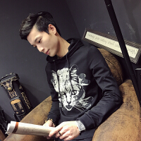 新款男士连帽卫衣修身印花时尚长袖外套韩版休闲潮男学生夹克男装