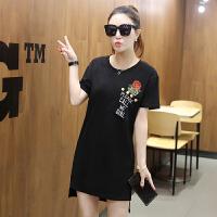 正品ZAH玫瑰T恤女短袖上衣女夏2017新款韩版百搭潮半袖宽松个性夏季女装 X