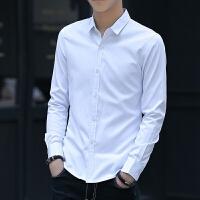 新款2018男士长袖男士个性长袖衬衫春秋长袖白衬衫男韩版大码潮流