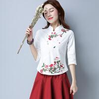夏季新款 民族风女装 立领盘扣刺绣衬衫修身原创棉麻绣花上衣