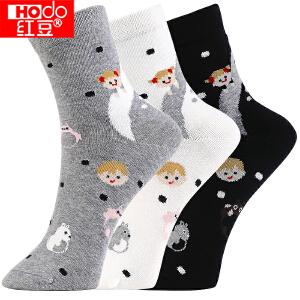 红豆袜子 女袜休闲棉袜龙猫童趣四季中筒袜H7W024 三双装 均码