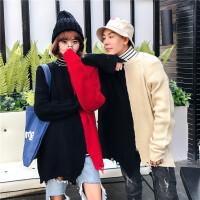 新款2018秋冬装男女个性拼接韩版不规则下摆针织衫休闲情侣毛衣潮