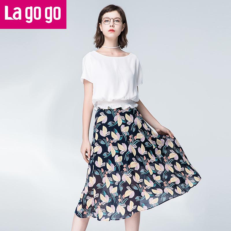 Lagogo2017夏季新款圆领短袖时尚套装连衣裙两件套套装裙女潮