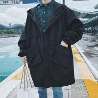 秋冬季bf风中长款风衣男士加肥加大码休闲工装外套胖子夹克韩版潮