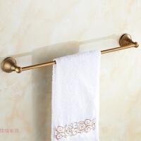 毛巾杆卫浴全铜简欧式浴室挂件仿古单层毛巾架单杆卫浴置物架