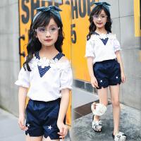 儿童装女童夏季套装新款中大童潮女孩夏装短裤露肩两件套