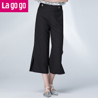 【3折价86.4】Lagogo2017夏季新款直筒裤黑色高腰雪纺裤子女阔腿裤宽松休闲裤