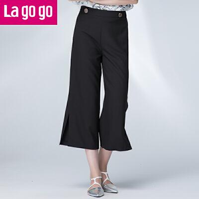 Lagogo2017夏季新款直筒裤黑色高腰雪纺裤子女阔腿裤宽松休闲裤