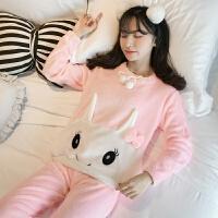 珊瑚绒睡衣女士秋冬季韩版学生清新甜美可爱加厚保暖法兰绒家居服