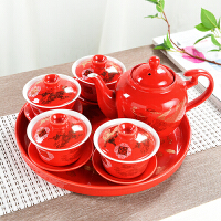 结婚庆敬茶壶龙凤双喜对杯茶具套装红色三才盖碗陶瓷中式婚礼嫁妆