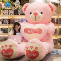 玩偶公仔抱抱熊熊猫布娃娃女孩生日礼物可爱大熊毛绒玩具泰迪熊 粉爱心(开心每) 全长量1米