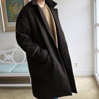 新款秋冬季男士中长款毛呢大衣翻领廓形呢子大衣韩版外套潮