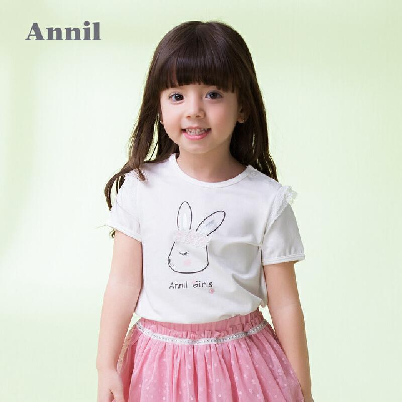 【3件3折:35.7】安奈儿童装女童甜美圆领短袖T恤夏装新款 立体图案设计,简约精致,荷叶边装饰袖子