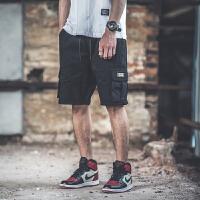 五分工装短裤男宽松直筒潮牌多口袋纯色夏季欧美风街头嘻哈五分裤