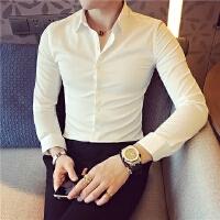 新款白衬衣男婚礼烫长袖衬衣男法式纯色衬衫修身韩版潮寸衫