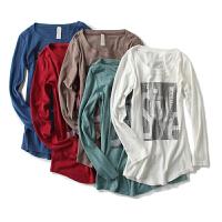 女装冬装新潮韩版字母印花假两件套长袖T恤女打底上衣